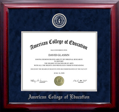 American College of Education UltraSuede Diploma Frame