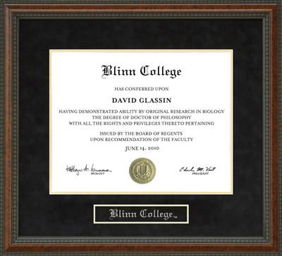 Blinn College Diploma Frame Wordyisms