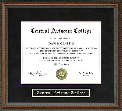 Central Arizona College Cac Diploma Frame Wordyisms