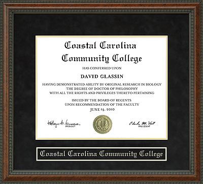 Coastal Carolina Community College Diploma Frame Wordyisms