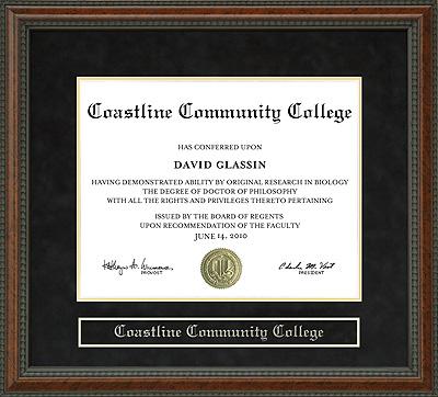 Coastline Community College Diploma Frame Wordyisms
