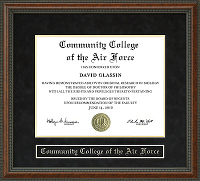Community College Of The Air Force Ccaf Diploma Frame