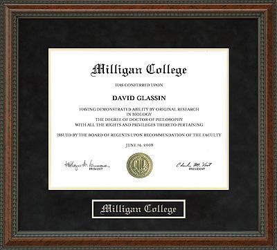 Milligan College Diploma Frame Wordyisms