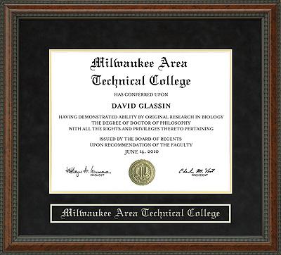 Milwaukee Area Technical College Matc Diploma Frame