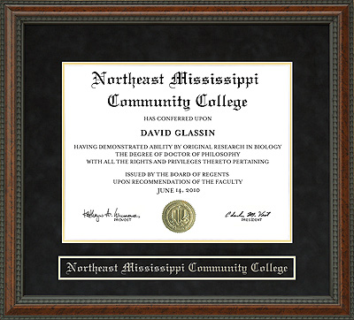 Northeast Mississippi Community College Diploma Frame