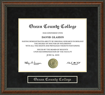 How To Frame A Jersey >> Ocean County College Diploma Frame: Wordyisms