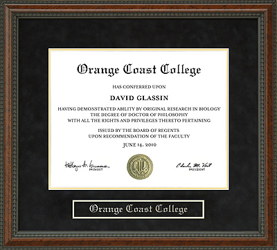 Orange Coast College Occ Diploma Frame Wordyisms