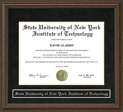 State University of New York Institute of Technology (SUNYIT) Diploma Frame