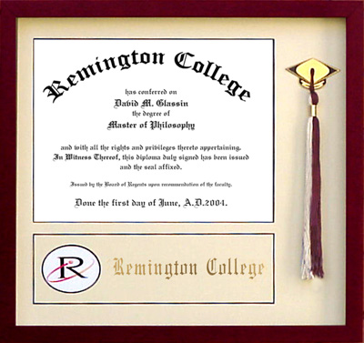 remington college diploma frame with tassel display