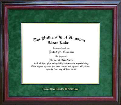 UH - Clear Lake Classic Diploma Frame in Green Suede: Wordyisms