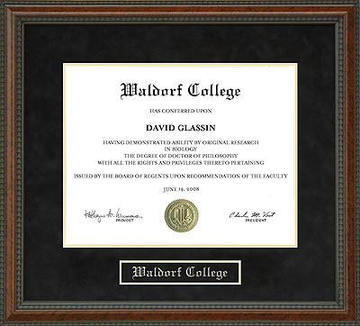 Waldorf College Diploma Frame Wordyisms