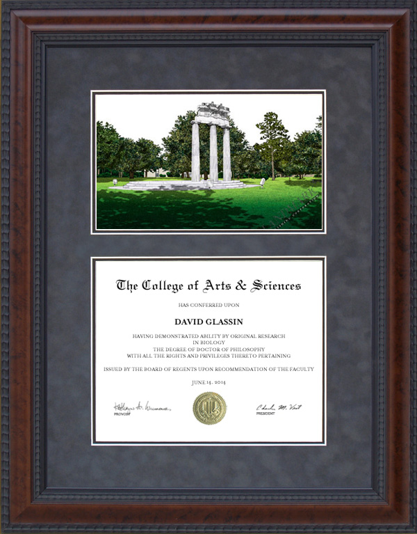 Diploma Frame with University of South Alabama (USA) Campus ...