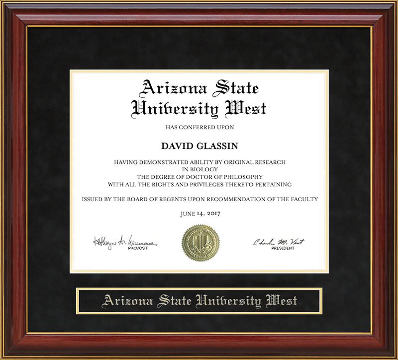 Arizona State University West Asu West Mahogany Diploma