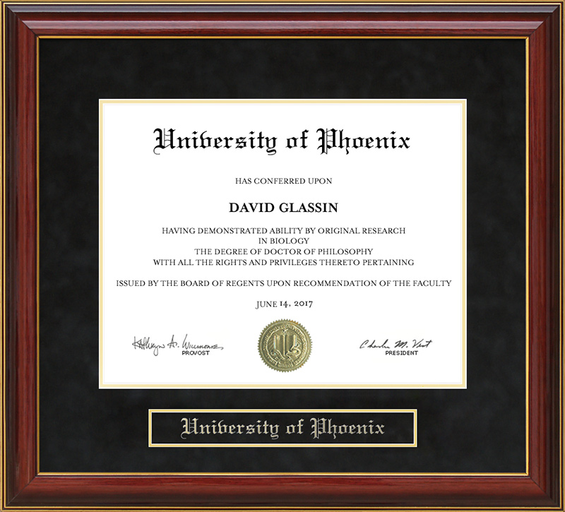 University Of Phoenix Mahogany Diploma Frame Wordyisms