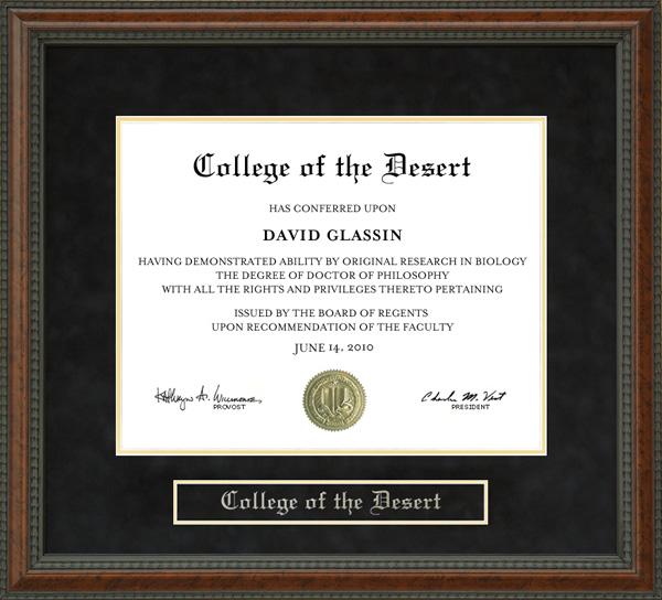 college of the desert  cod  diploma frame  wordyisms