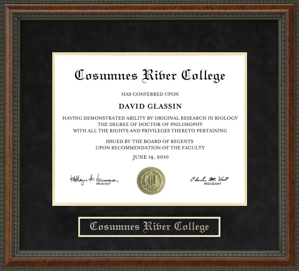Cosumnes River College Diploma Frame Wordyisms