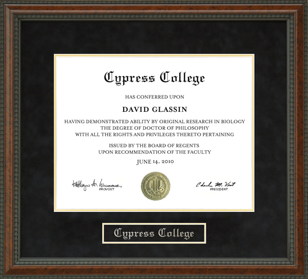Cypress College Diploma Frame: Wordyisms