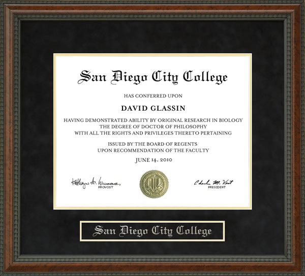 San Diego City College Diploma Frame: Wordyisms