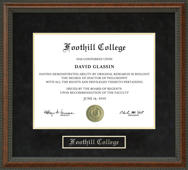 Foothill College Diploma Frame Wordyisms