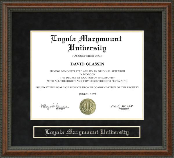Loyola Marymount University Lmu Diploma Frame Wordyisms