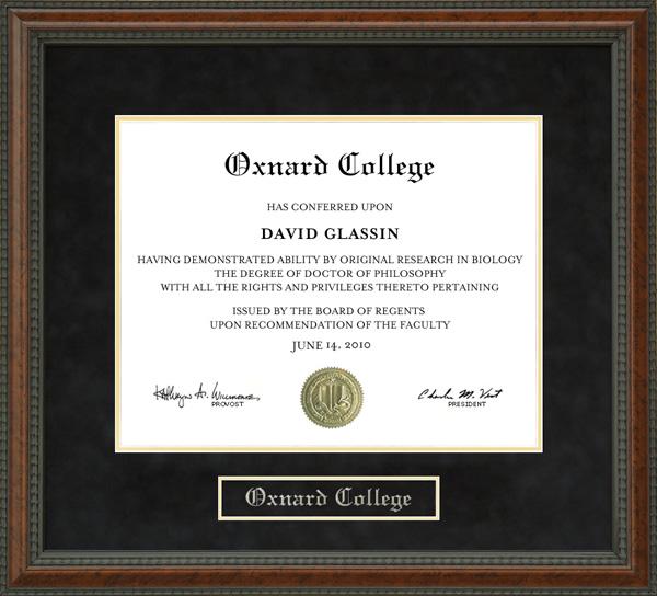 Oxnard College Diploma Frame Wordyisms