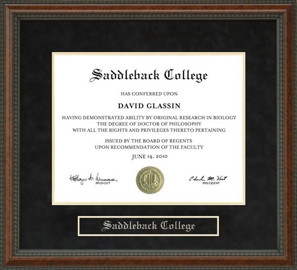 Saddleback College Diploma Frame Wordyisms