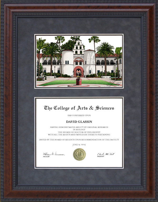 Diploma Frame with Licensed San Diego State (SDSU) Campus Lithograph ...