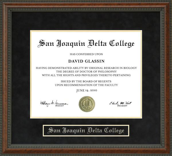 San Joaquin Delta College Sjdc Diploma Frame Wordyisms