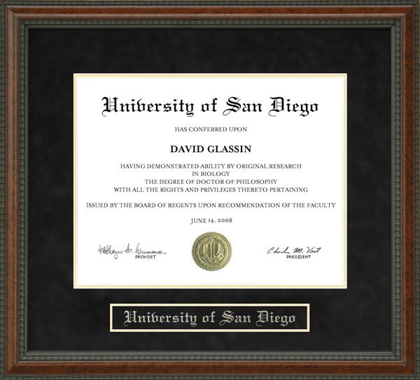 University Of San Diego Usd Diploma Frame Wordyisms