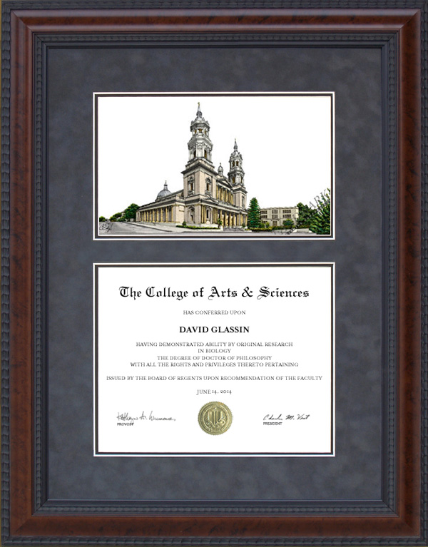 Diploma Frame with University of San Francisco (USF) Campus ...