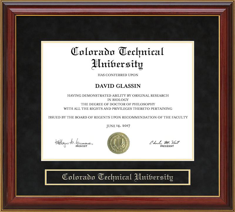 Colorado Technical University Ctu Mahogany Diploma Frame