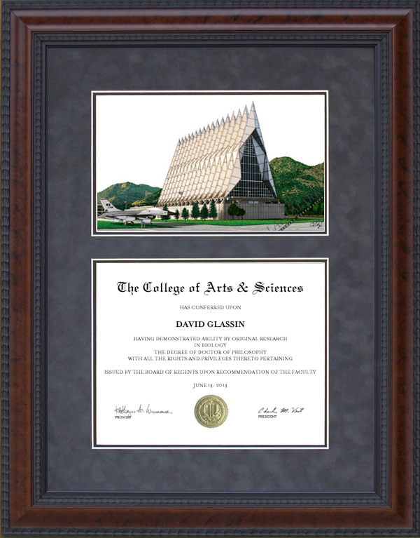 Diploma Frame With Us Air Force Academy Usaf Campus
