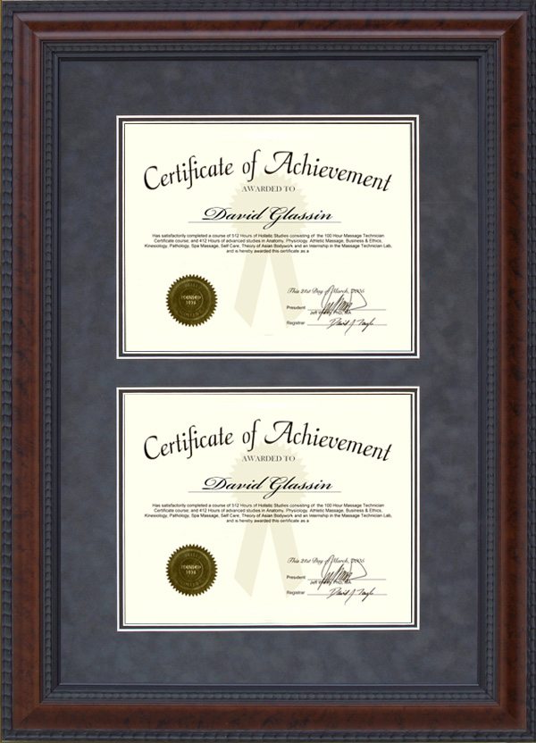 Burl Hardwood Double Certificate Frame: Wordyisms