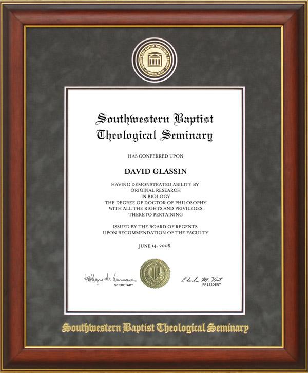 Swbts Designer Diploma Frame With Embossed Suede Mat