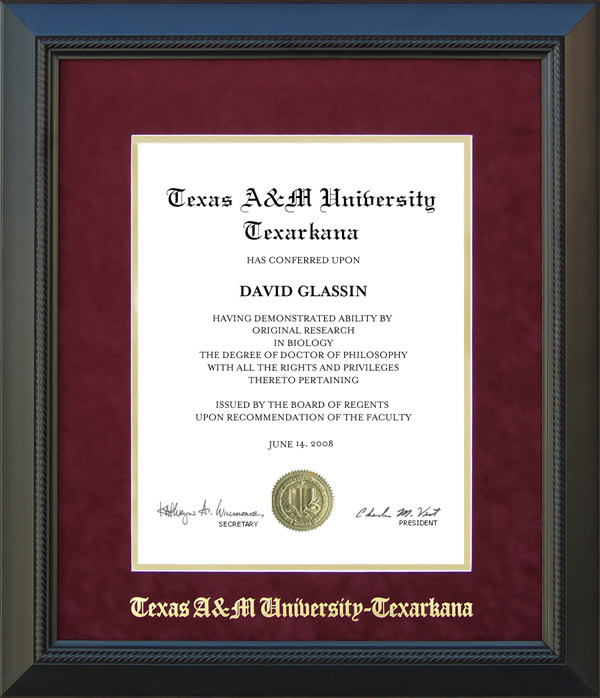 Texas A&M Texarkana Classic Diploma Frame: Wordyisms