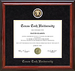 Texas Tech Diploma Frame with Embossed Seal