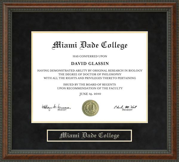 Miami Dade College Mdc Diploma Frame Wordyisms