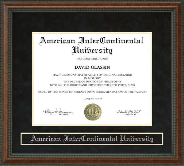 American Intercontinental University Aiu Diploma Frame