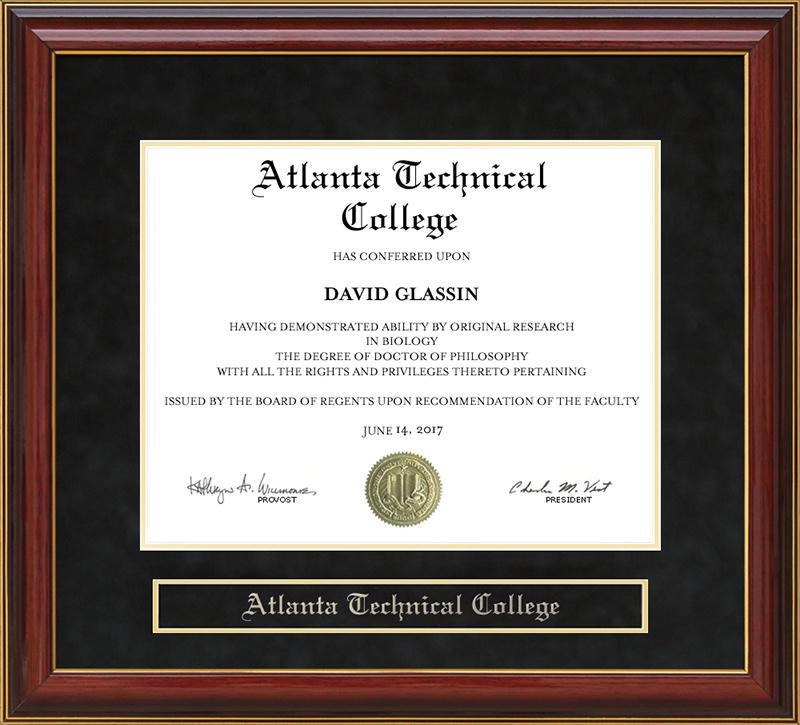 Atlanta Technical College - Atlanta Technical College Mahogany Diploma Frame: Wordyisms
