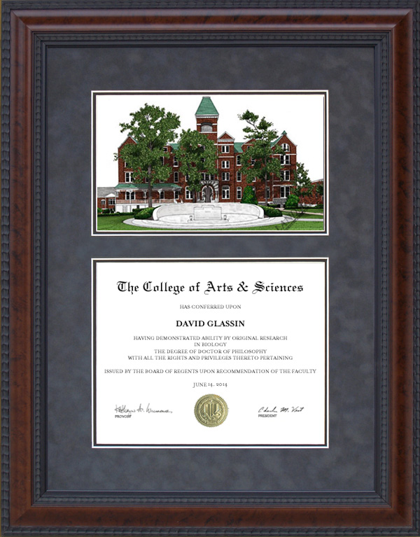 diploma frame with licensed morehouse college campus lithograph