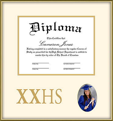 Gold High School Diploma and Photo Frame