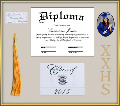 High School Diploma Frame - Gold Shadow Box