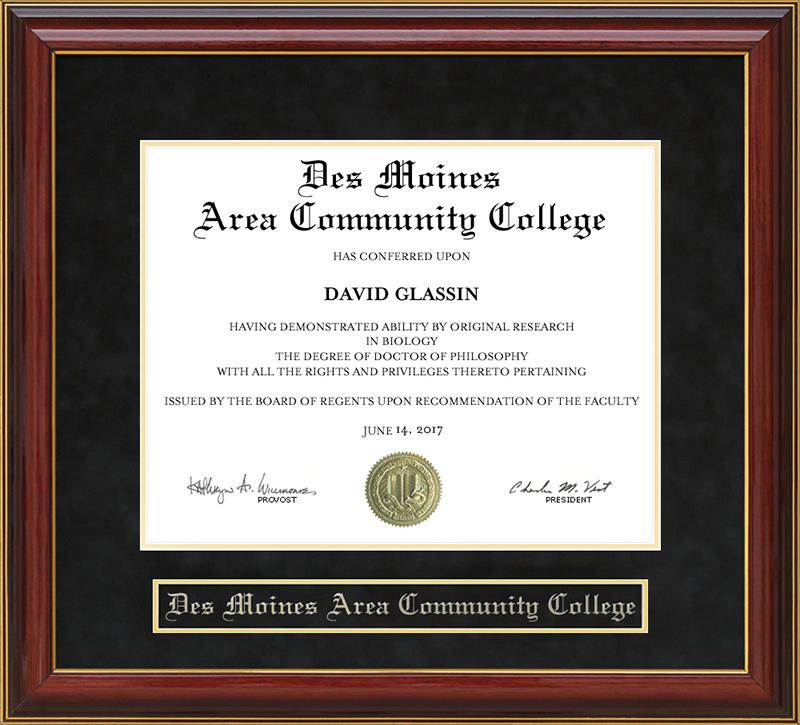 Des Moines Area Community College Dmacc Mahogany Diploma