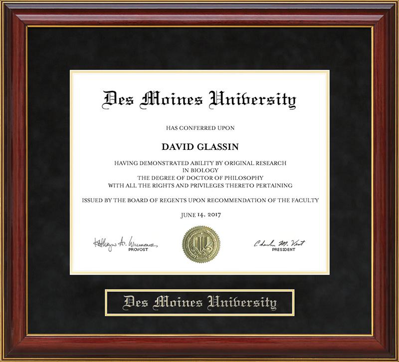 Des Moines University Dmu Mahogany Diploma Frame Wordyisms
