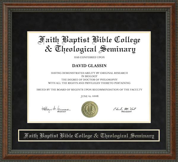Faith Baptist Bible College & Theological Seminary Diploma Frame