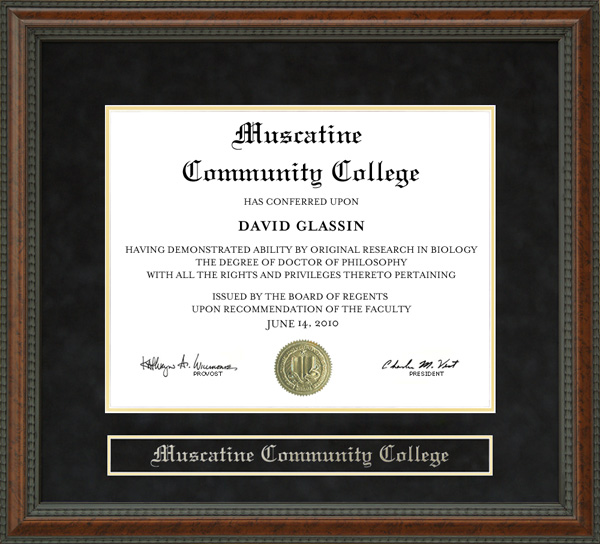 Muscatine Community College. Muscatine Community College Diploma Frame