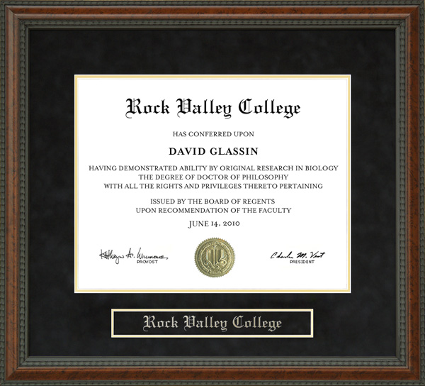 Rock Valley College Diploma Frame: Wordyisms