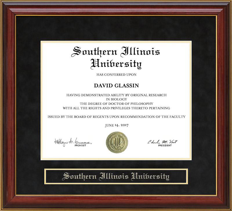 Southern Illinois University Mahogany Diploma Frame: Wordyisms
