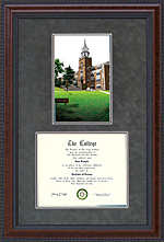 Document Frame with Licensed Southern Illinois University Carbondale (SIUC) Campus Lithograph