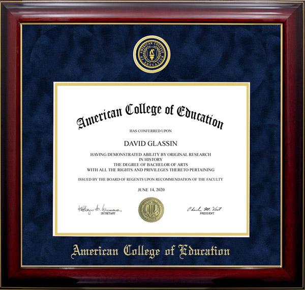 American College Of Education Designer Diploma Frame